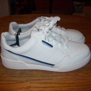 NWT Women's White Athletic Sneakers Blue Piping